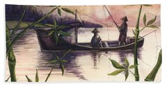 Fishing In The Sunset   Hand Towel