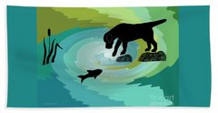 Fishing Labrador Dog Hand Towel