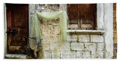 Fishing Net Hanging In The Streets Of Rovinj, Croatia Hand Towel