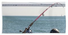 Fishing Rod On The Pier In San Francisco Bay Hand Towel