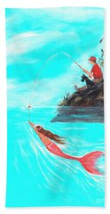 Hand Towel featuring the painting Fishing Surprise by Leslie Allen