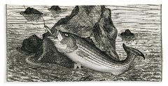 Fishing The Rocks Hand Towel by Charles Harden