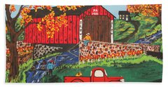 Fishing Under The  Covered Bridge Bath Towel