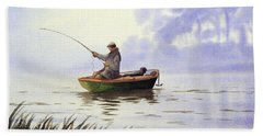 Fishing With A Loyal Friend Hand Towel