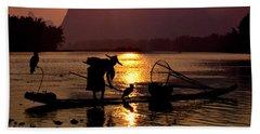 Fishing With Cormorants Bath Towel