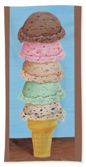 Bath Towel featuring the painting Five Scoop Ice Cream Cone by Nancy Nale