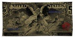 Bath Towel featuring the digital art Five U.s. Dollar Bill - 1896 Educational Series In Gold On Black  by Serge Averbukh