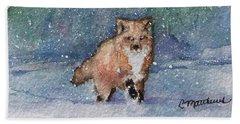 Fox In Snow Hand Towel