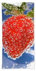 Fizzy Strawberry With Bubbles On Blue Background Hand Towel by Sergey Taran