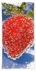 Fizzy Strawberry With Bubbles On Blue Background Bath Towel by Sergey Taran