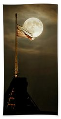 Hand Towel featuring the photograph Flag And Moon -01 by Rob Graham
