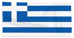 Flag Of Greece Hand Towel by Robert Banach