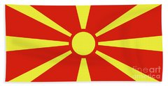 Hand Towel featuring the digital art Flag Of Macedonia by Bruce Stanfield