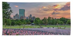 Flag Sunset On Boston Common Hand Towel