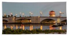 Flagler Bridge In Lights Panorama Hand Towel