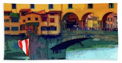 Flags At Ponte Vecchio Bridge Hand Towel