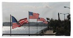 Flags On The Inlet Boardwalk Bath Towel