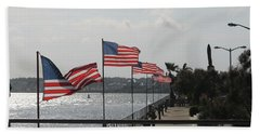Flags On The Inlet Boardwalk Hand Towel by Robert Banach