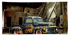 Bath Towel featuring the photograph Flamed Pickup by Steven Agius