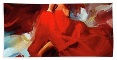 Hand Towel featuring the painting Flamenco Dance 7750 by Gull G