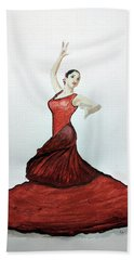 Flamenco Dancer Hand Towel by Edwin Alverio