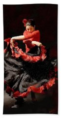 Flamenco Frills Triptych Panel 3 Of 3 Hand Towel