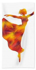 Flaming Dance Ballerina Silhouette Hand Towel