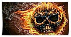 flaming skull Punk Gothic Biker Art Hand Towel