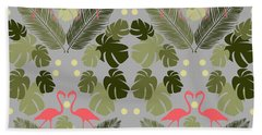 Flamingo And Palms Hand Towel