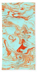 Flamingo And Sea Marble Hand Towel by Uma Gokhale