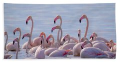 Flamingo Family In Kalochori Lagoon Greece Bath Towel