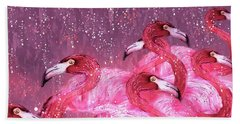 Flamingo Frenzy Hand Towel by Barbara Chichester