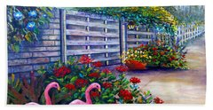 Hand Towel featuring the painting Flamingo Gardens by Lou Ann Bagnall