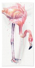 Flamingo Illustration Watercolor - Facing Left Hand Towel by Olga Shvartsur