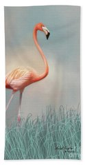 Flamingo Hand Towel by Lena Auxier