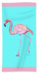 Flamingo On Blue Bath Towel