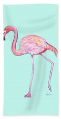 Flamingo On Mint Background Bath Towel