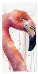 Flamingo Painting Watercolor - Facing Right Hand Towel by Olga Shvartsur