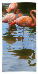 Bath Towel featuring the photograph Flamingo Reflections by Margaret Bobb