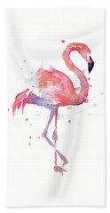 Flamingo Watercolor Facing Right Hand Towel