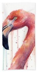 Flamingo Watercolor Illustration Hand Towel