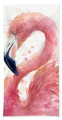 Flamingo Watercolor Painting Hand Towel