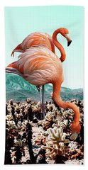 Flamingos In The Desert Bath Towel