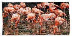 Bath Towel featuring the photograph Flamingo Looking For Food by Pradeep Raja Prints