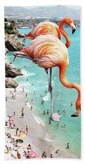 Flamingos On The Beach Hand Towel