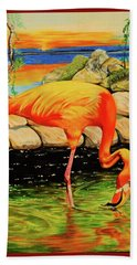 Flamingo's Paradise Bath Towel by Cheryl Poland