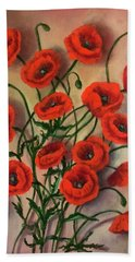 Flander Poppies Bath Towel