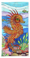 Flashy Swimmer And Fishes Hand Towel