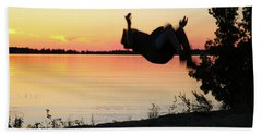 Flips At Sunset Bath Towel by Kelly Hazel