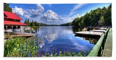Hand Towel featuring the photograph Floating Bridge At Covewood by David Patterson